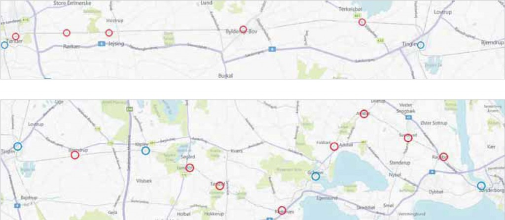 De blå cirkler viser de eksisterende stationer. De røde cirkler er de perroner som ønskes bygget.