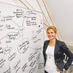 Lotte Rod har på sit kontor en tavle med mange ideer og punkter hun arbejder med.
